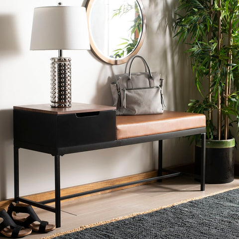 Maruka Bench with Storage in Brown
