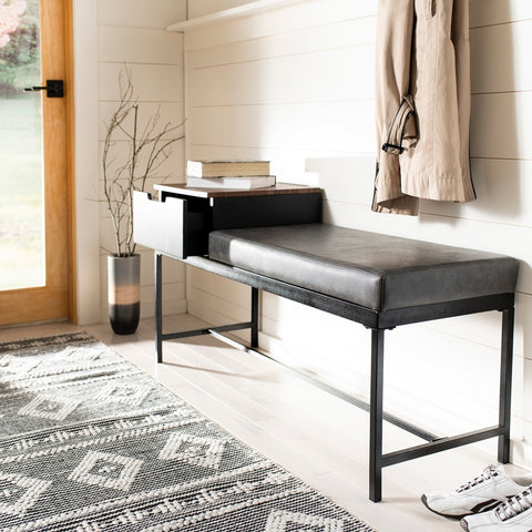 Maruka Bench with Storage in Brown and Grey