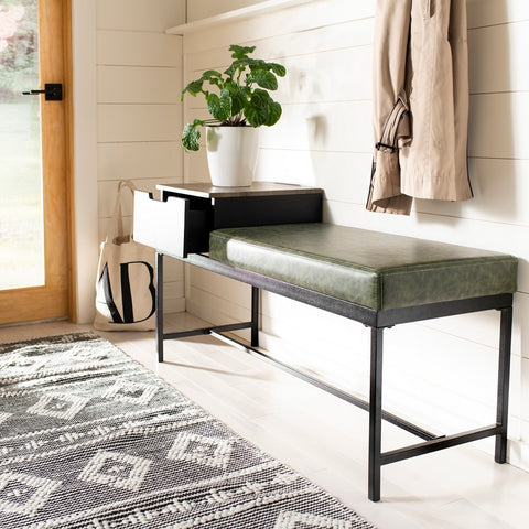 Maruka Bench with Storage in Grey Wash and Dark Green