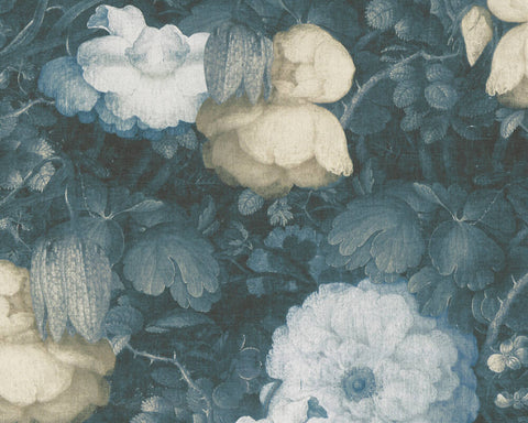 Mary Floral Wallpaper in Black, Blue, and Green by BD Wall