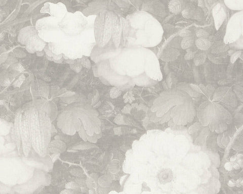 Mary Floral Wallpaper in Grey and White by BD Wall
