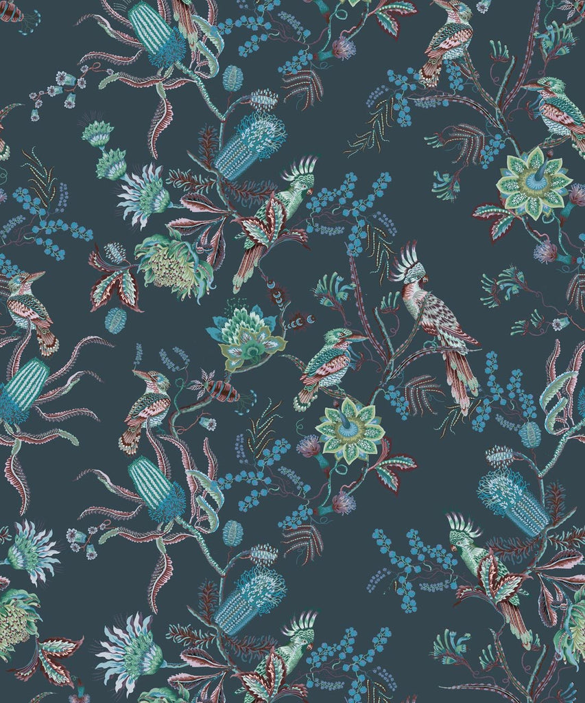 Matilda Wallpaper in Deep Blue from the Kingdom Home Collection by Milton & King