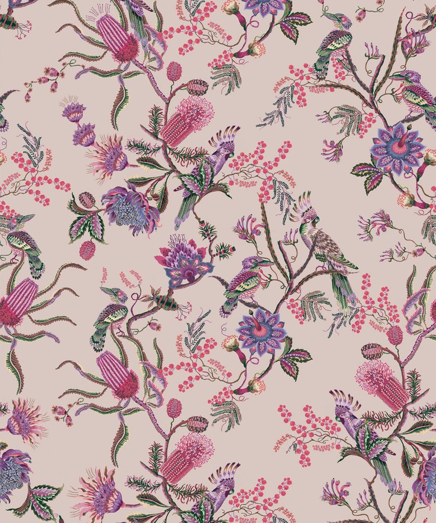 Sample Matilda Wallpaper in Pinky from the Kingdom Home Collection by Milton & King
