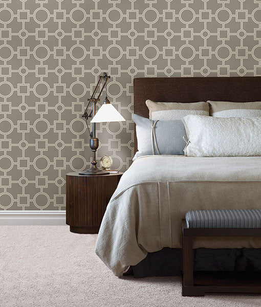Matrix Light Grey Geometric Wallpaper from the Symetrie Collection by Brewster Home Fashions