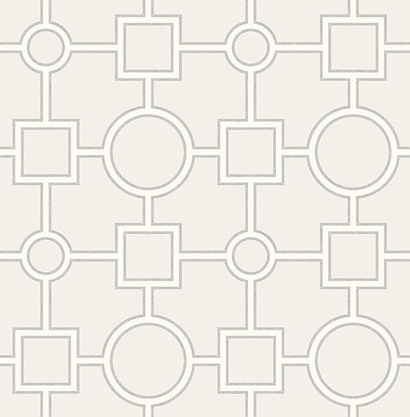 Sample Matrix Light Grey Geometric Wallpaper from the Symetrie Collection by Brewster Home Fashions