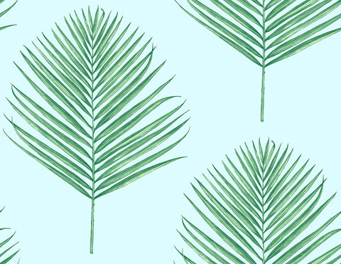 Maui Palm Peel-and-Stick Wallpaper in Celeste and Jade from the Luxe Haven Collection by Lillian August