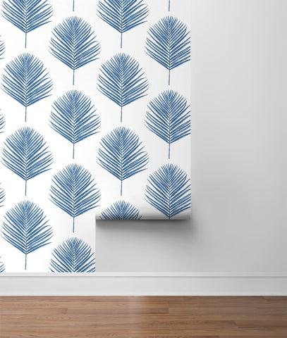 Maui Palm Peel-and-Stick Wallpaper in Coastal Blue from the Luxe Haven Collection by Lillian August