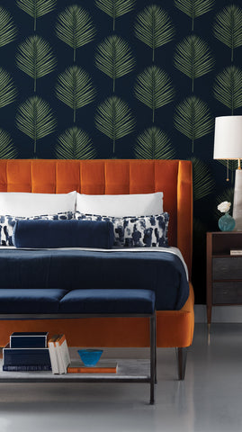 Maui Palm Peel-and-Stick Wallpaper in Midnight Blue and Paradise Green from the Luxe Haven Collection by Lillian August