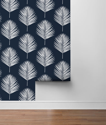 Maui Palm Peel-and-Stick Wallpaper in Midnight Blue and White from the Luxe Haven Collection by Lillian August