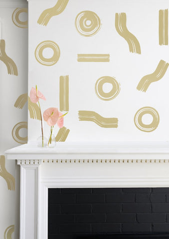 Maxi Wallpaper in Gold on Cream design by Juju