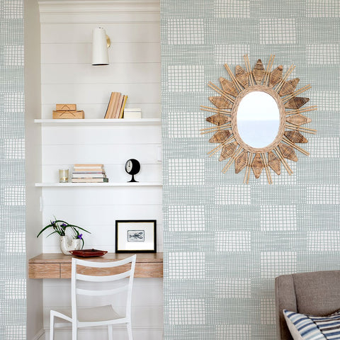 Maxwell Geometric Wallpaper in Aqua from the Bluebell Collection by Brewster Home Fashions