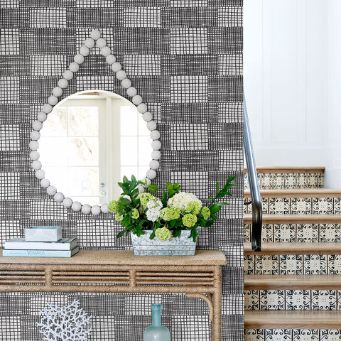 Maxwell Geometric Wallpaper in Black from the Bluebell Collection by Brewster Home Fashions