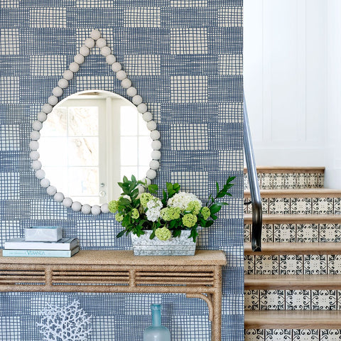 Maxwell Geometric Wallpaper in Blue from the Bluebell Collection by Brewster Home Fashions