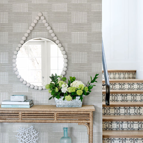 Maxwell Geometric Wallpaper in Grey from the Bluebell Collection by Brewster Home Fashions