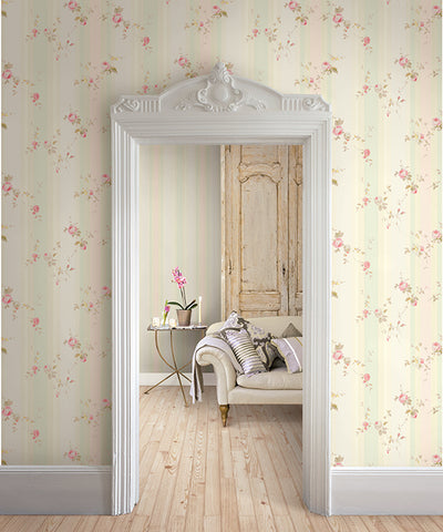 May's Stripe Wallpaper from the Watercolor Florals Collection by Mayflower Wallpaper