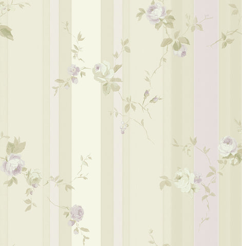 May's Stripe Wallpaper in Cream and Lilac from the Watercolor Florals Collection by Mayflower Wallpaper