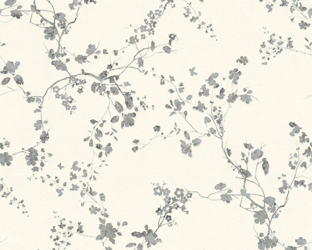 Sample Mea Cottage Floral Wallpaper in White, Metallic, and Black by BD Wall
