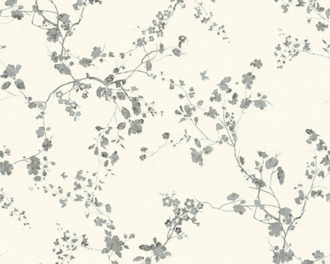 Mea Cottage Floral Wallpaper in White, Metallic, and Black by BD Wall