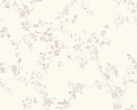 Mea Cottage Floral Wallpaper in White and Purple by BD Wall