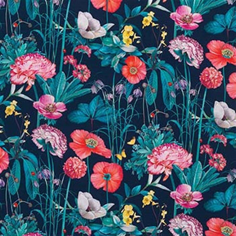 Meadow Fabric in Midnight and Coral from the Enchanted Gardens Collection by Osborne & Little
