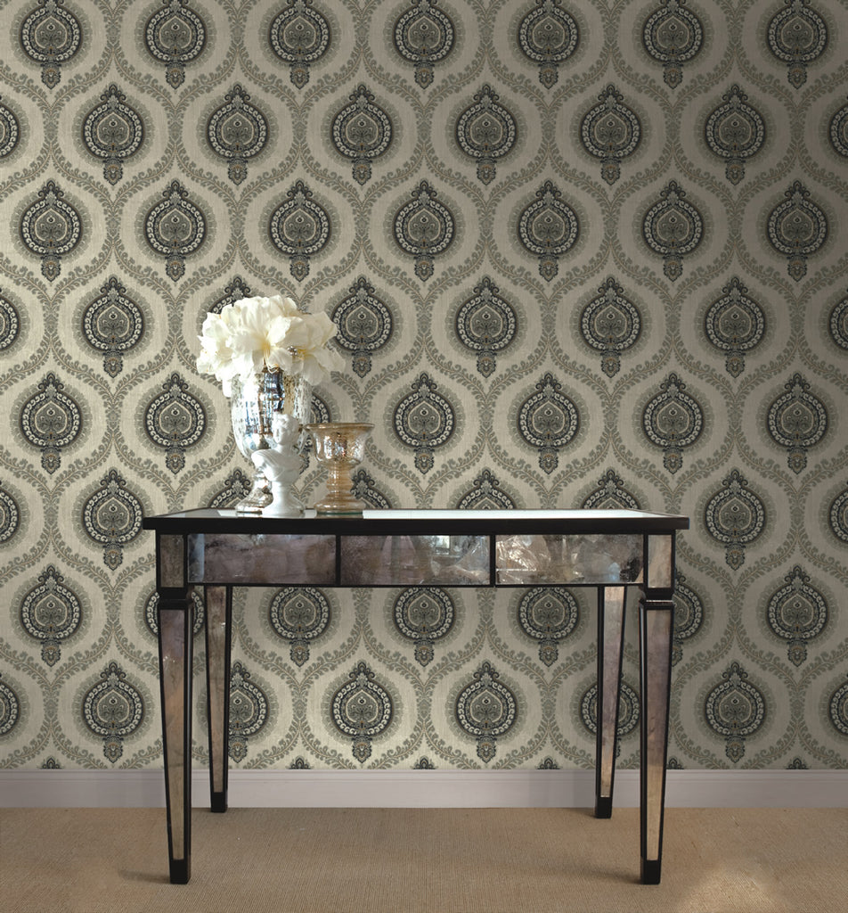 Medallion Ogee Wallpaper from the Caspia Collection by Wallquest