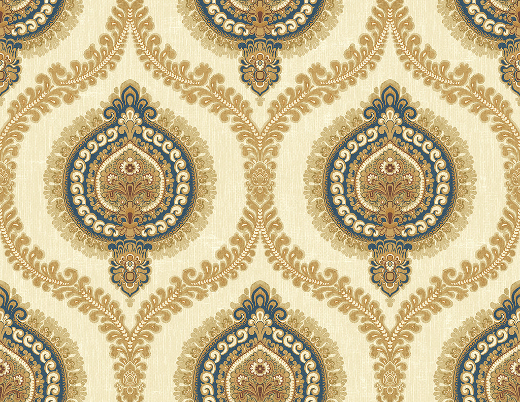Sample Medallion Ogee Wallpaper in Navy Gold from the Caspia Collection by Wallquest