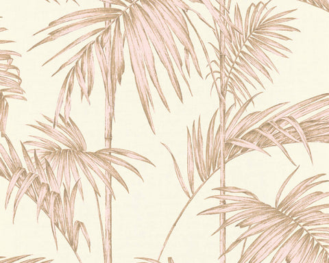 Medina Deco Floral Wallpaper in Beige, Cream, and Pink by BD Wall