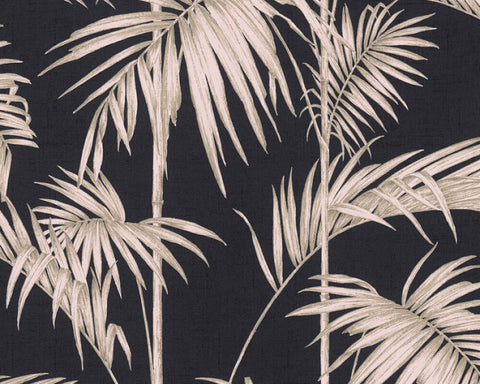 Medina Deco Floral Wallpaper in Black and Bronze by BD Wall