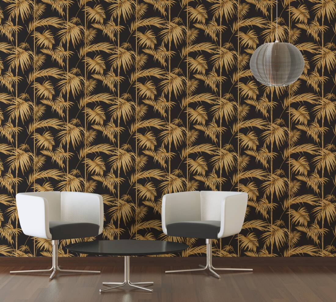 Medina Deco Floral Wallpaper In Brown Black And Gold By Bd Wall