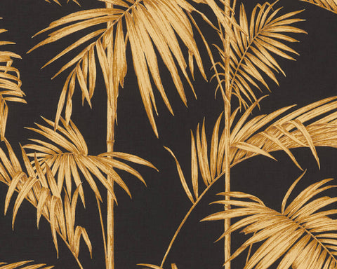 Medina Deco Floral Wallpaper in Brown, Black, and Gold by BD Wall