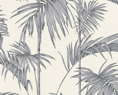 Medina Deco Floral Wallpaper in Metallic, Grey, and White by BD Wall