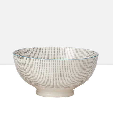 Medium Kiri Porcelain Bowl in Grey W/ Blue Trim