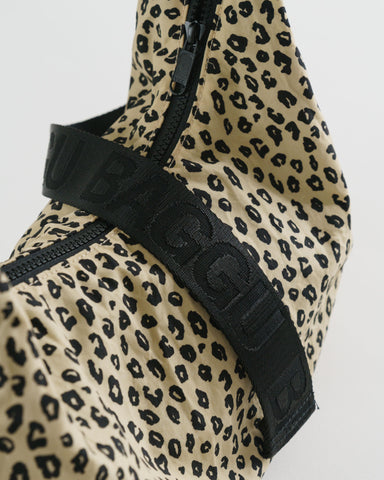 Medium Nylon Crescent Bag in Honey Leopard