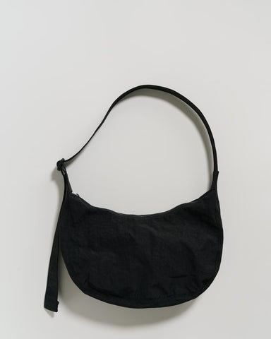 Medium Nylon Crescent Bag in Black
