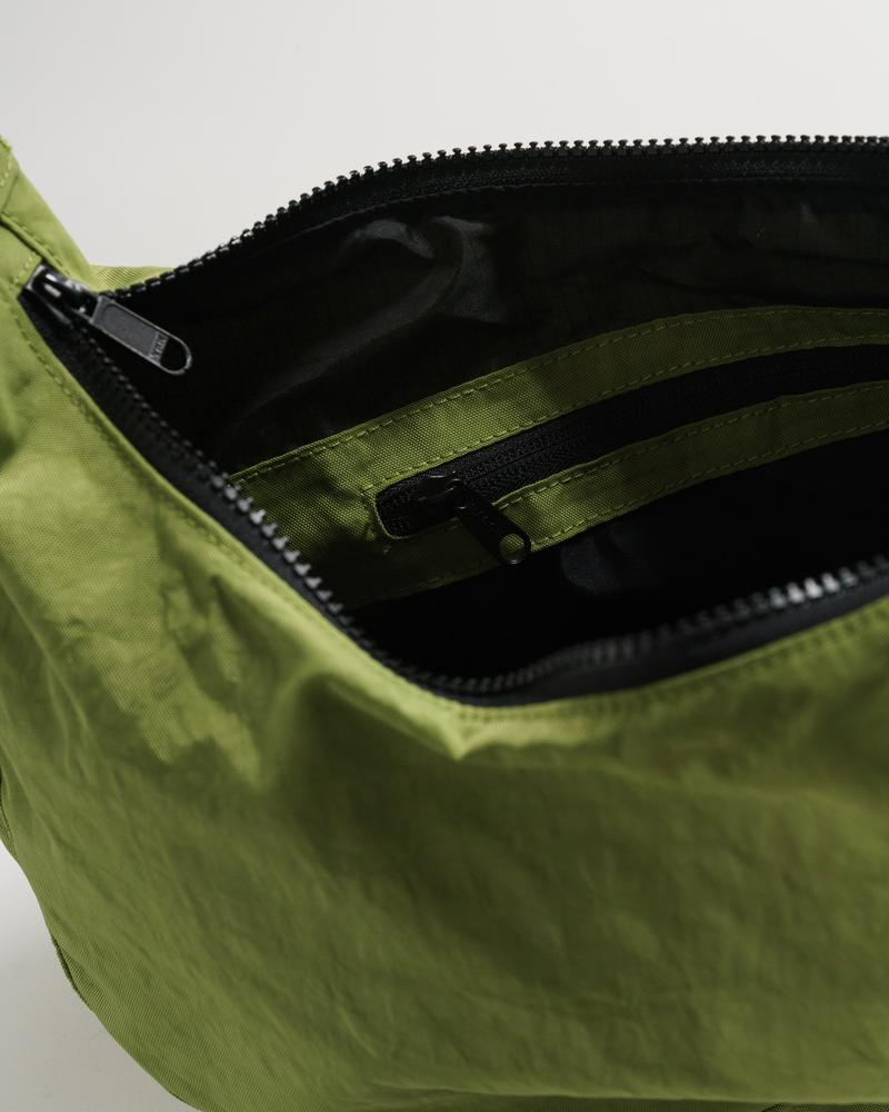 Medium Nylon Crescent Bag in Green Apple
