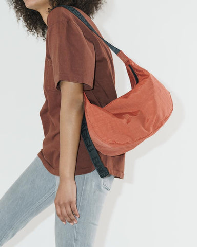Medium Nylon Crescent Bag in Sienna