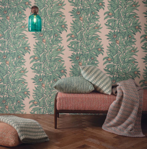 Medlar Wallpaper in Blush and Mint from the Mansfield Park Collection by Osborne & Little