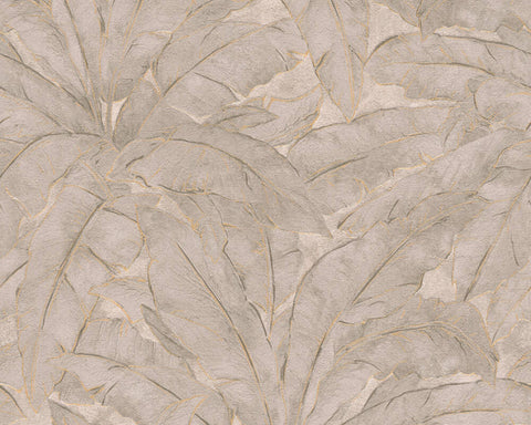 Meera Floral Wallpaper in Beige, Grey, and Gold by BD Wall