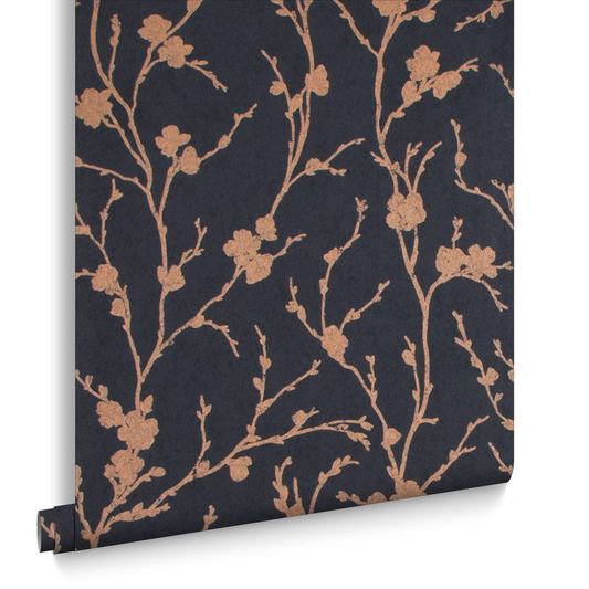 Sample Meiying Wallpaper in Charcoal from the Exclusives Collection by Graham & Brown