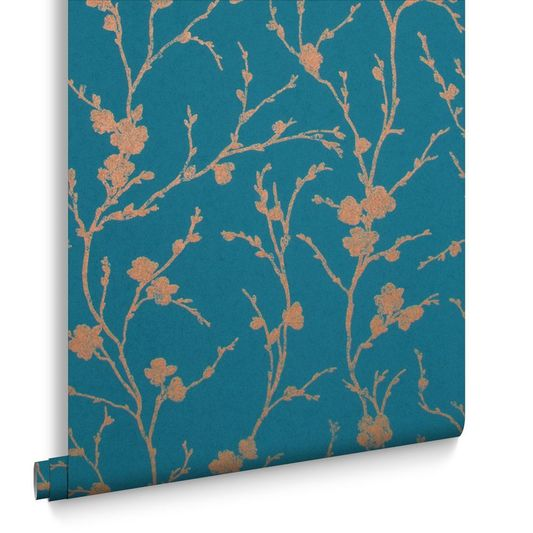 Sample Meiying Wallpaper in Teal from the Exclusives Collection by Graham & Brown
