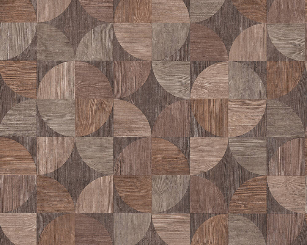 Melena Deco Wood Wallpaper in Beige, Brown, and Grey by BD Wall