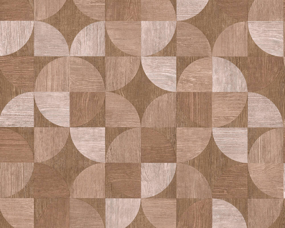 Sample Melena Deco Wood Wallpaper in Beige and Brown by BD Wall