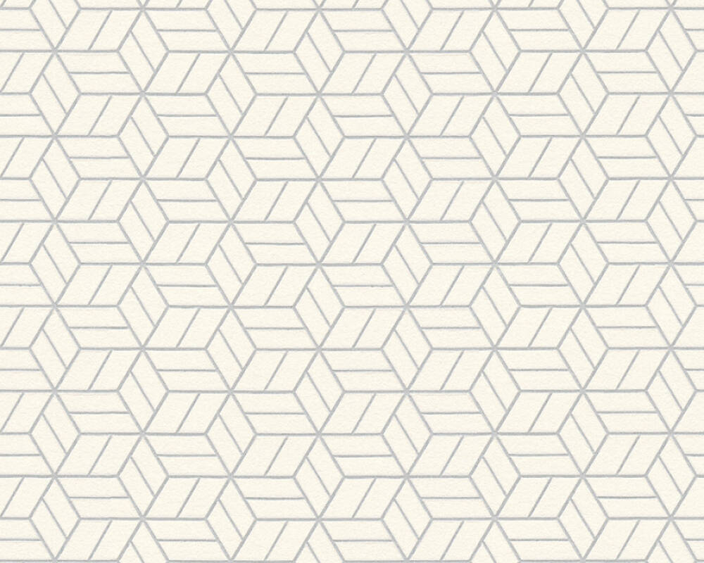 Melina Geo Wallpaper in Grey, Ivory, and Metallic by BD Wall