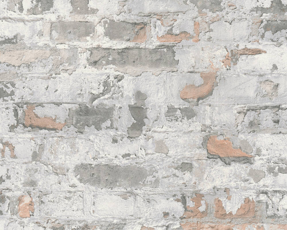 Sample Melinda Cottage Brick Wallpaper in Grey and Off-White by BD Wall