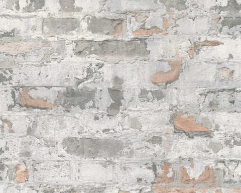 Melinda Cottage Brick Wallpaper in Grey and Off-White by BD Wall