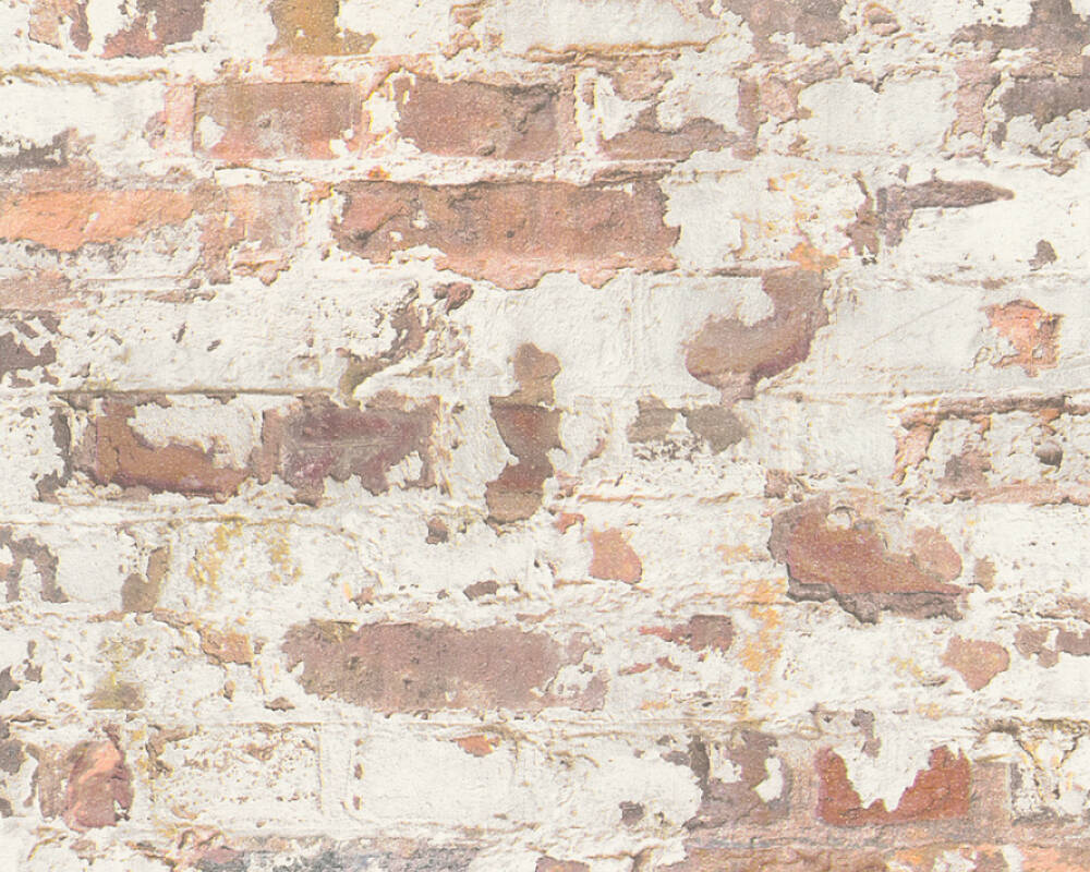 Melinda Cottage Brick Wallpaper in Grey and Orange by BD Wall