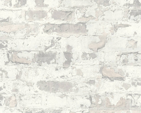 Melinda Cottage Brick Wallpaper in Grey and White by BD Wall
