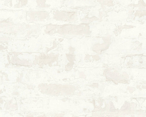 Melinda Cottage Brick Wallpaper in White and Grey by BD Wall