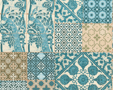 Melissa Tile Deco Wallpaper in Blue, Brown, and Green by BD Wall