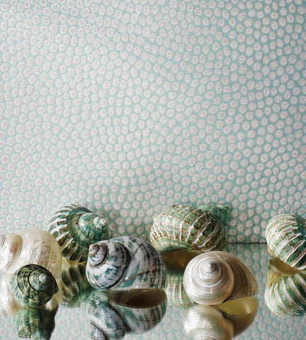Melo Wallpaper in Pale Aqua and Metallic Silver from the Pasha Collection by Osborne & Little